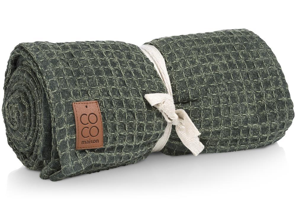 Plaid tendance vert kaki en coton