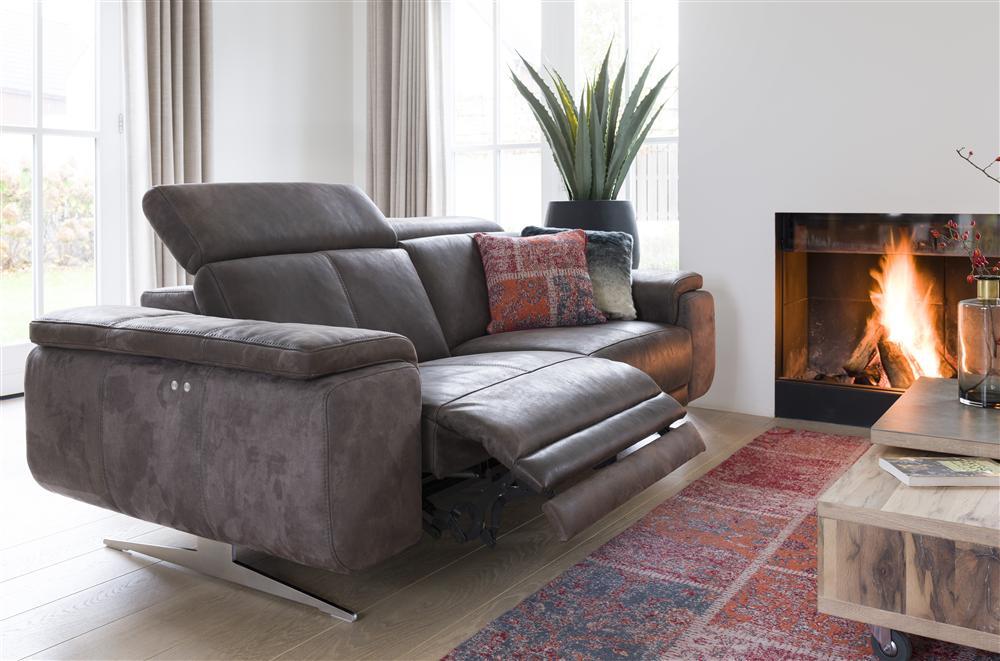 Salon canapé cuir gris foncé