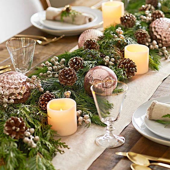 Centre de table noël végétation bougies