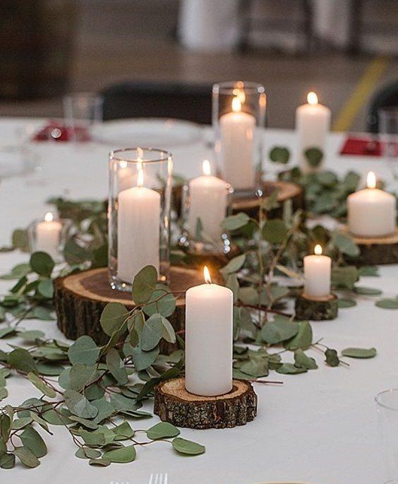 Centre de table bougies et végétation