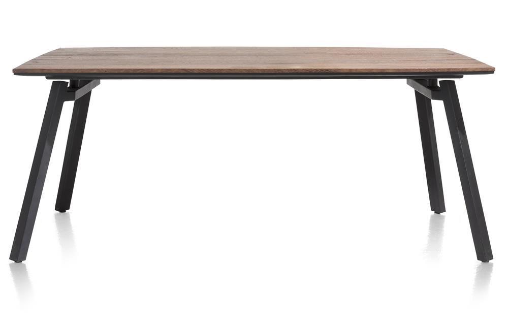table rétro chic bois et pieds métalliques noirs