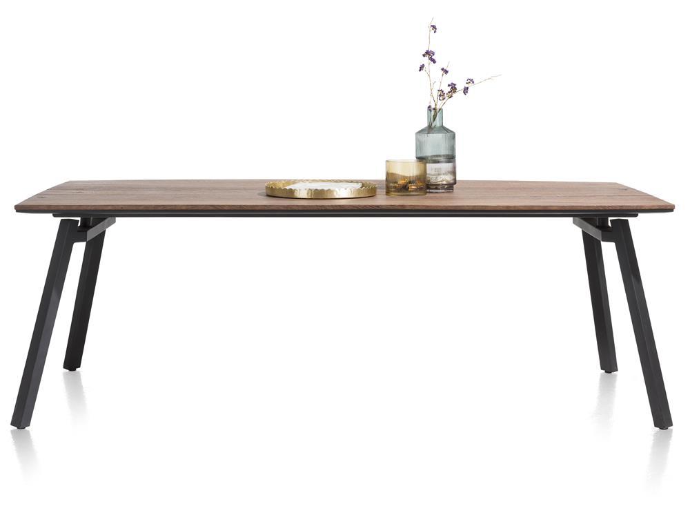 grande table rétro chic bois et pieds métalliques noirs