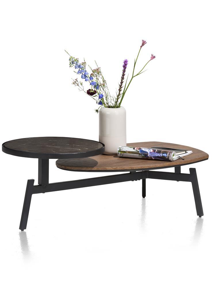 Table basse marbre et bois sur pieds métalliques