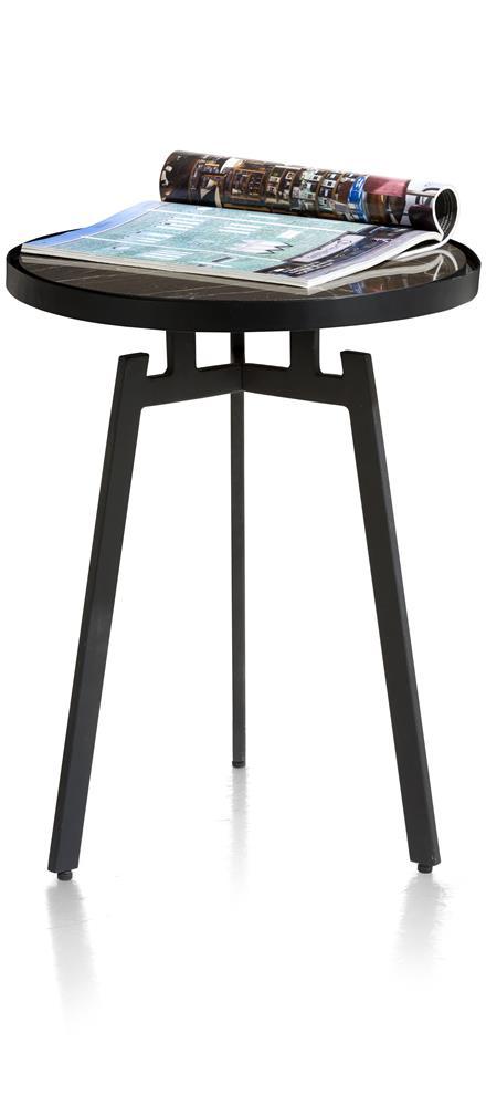 table d'appoint rétro chic marbre et pieds métalliques noirs
