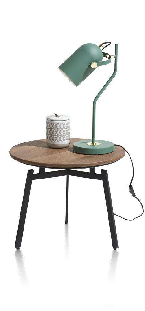 table d'appoint rétro chic bois et pieds métalliques noirs