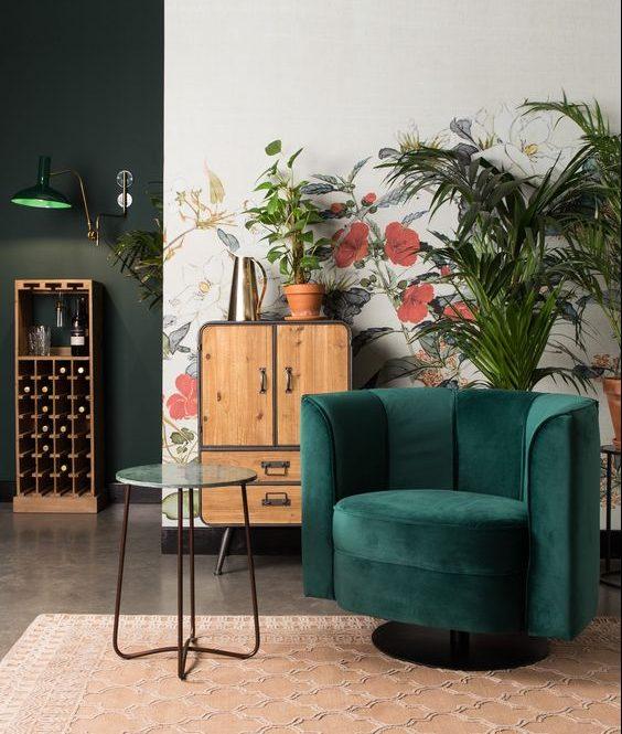 ambiance intérieure fauteuil vert sapin