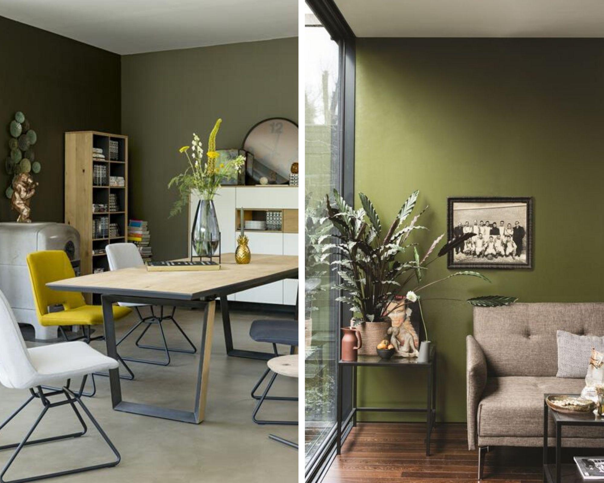 ambiance intérieure scandinave vert olive et jaune