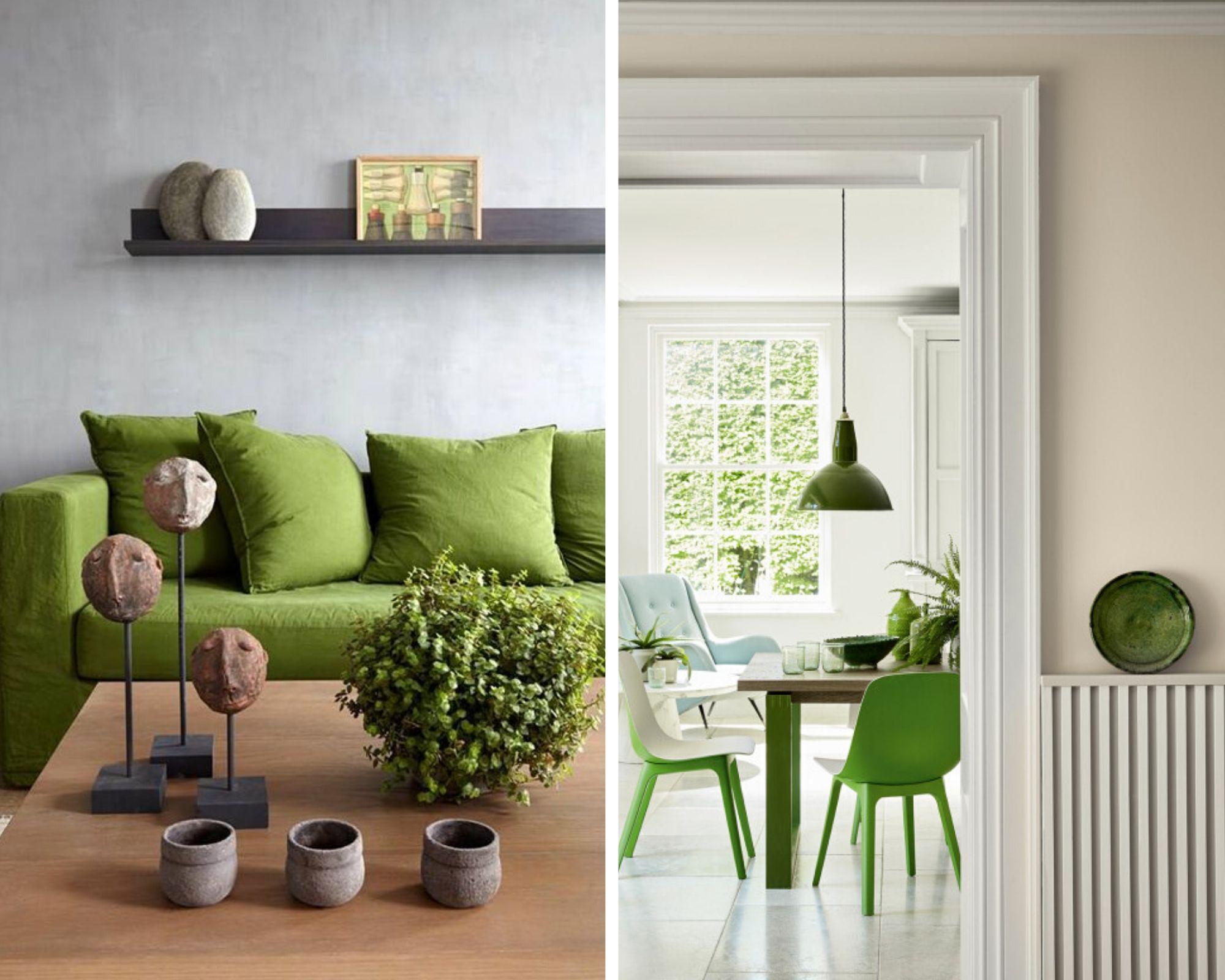 ambiance intérieure rustique et vert pomme