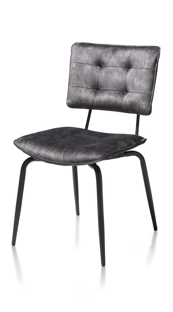 Chaise de table pieds métal noir tissu velours gris