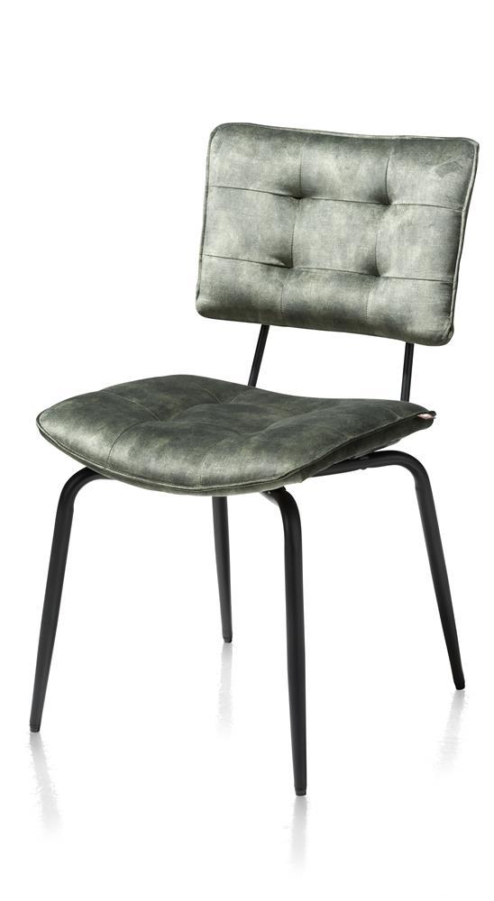 Chaise de table pieds métal noir tissu velours vert