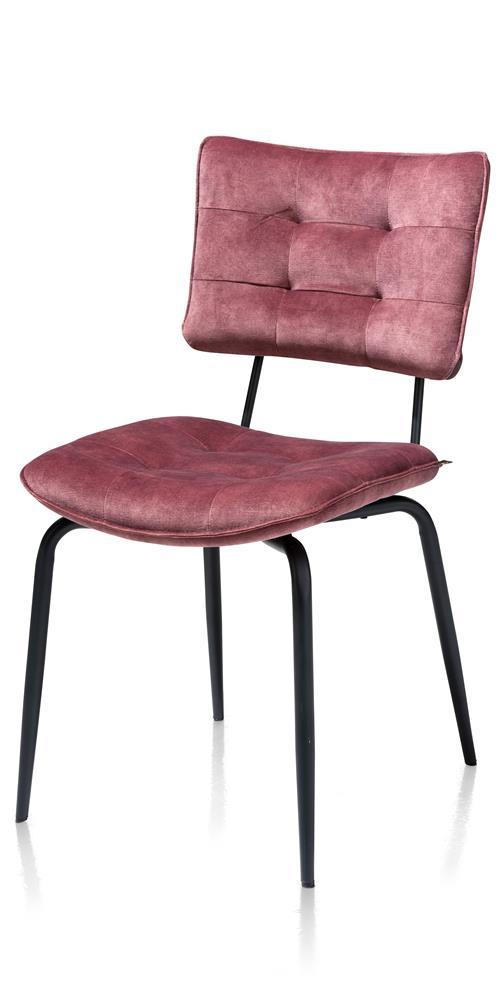 Chaise de table pieds métal noir tissu velours rose