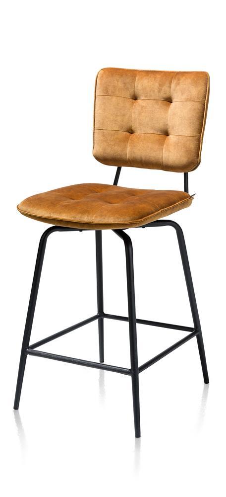 Chaise de bar tissu velours pieds métalliques noirs