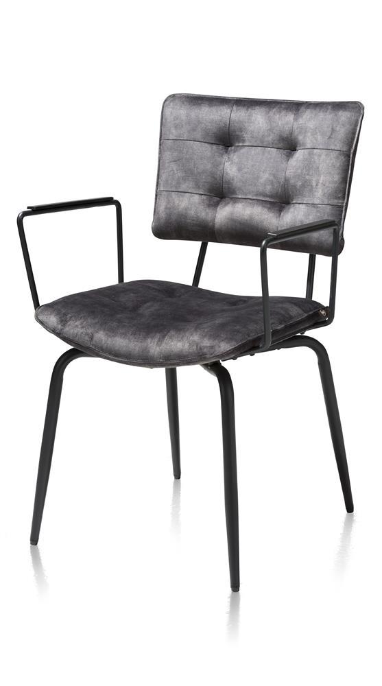 Chaise en tissu velours gris avec accoudoirs métal noir