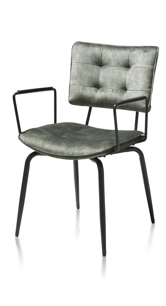 Chaise en tissu velours vert avec accoudoirs métal noir