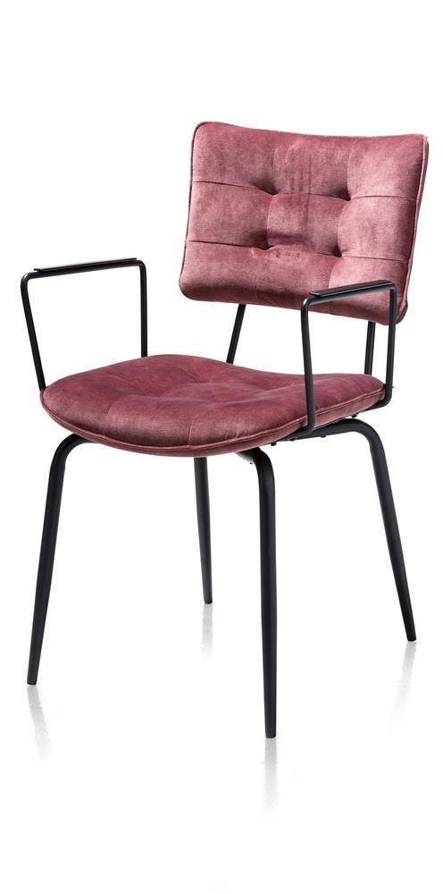 Chaise en tissu velours rose avec accoudoirs métal noir