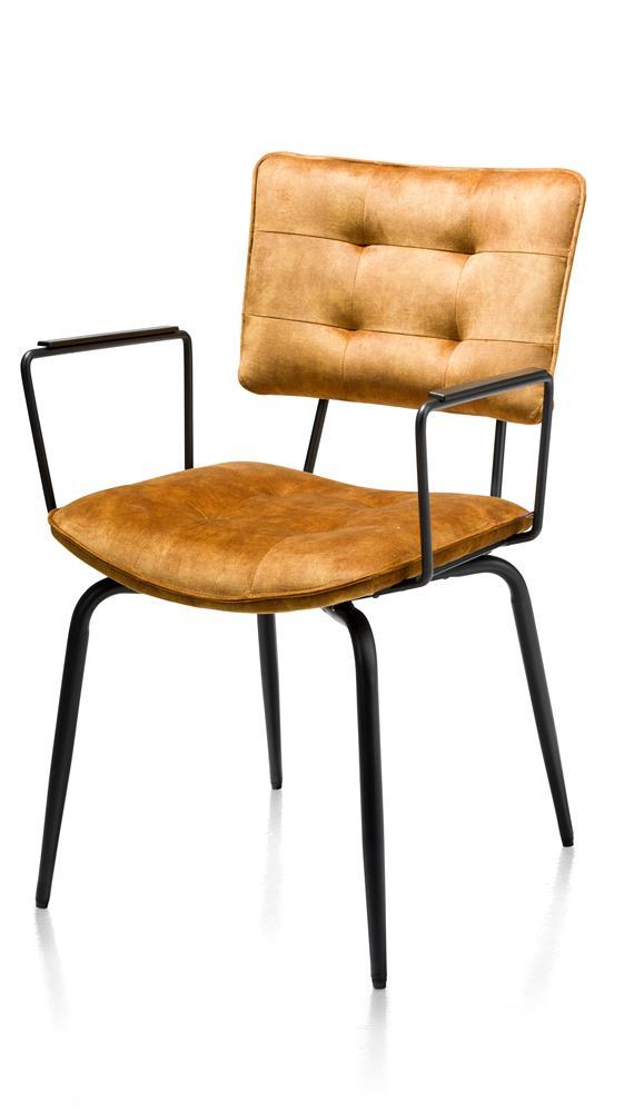 Chaise en tissu velours jaune avec accoudoirs métal noir