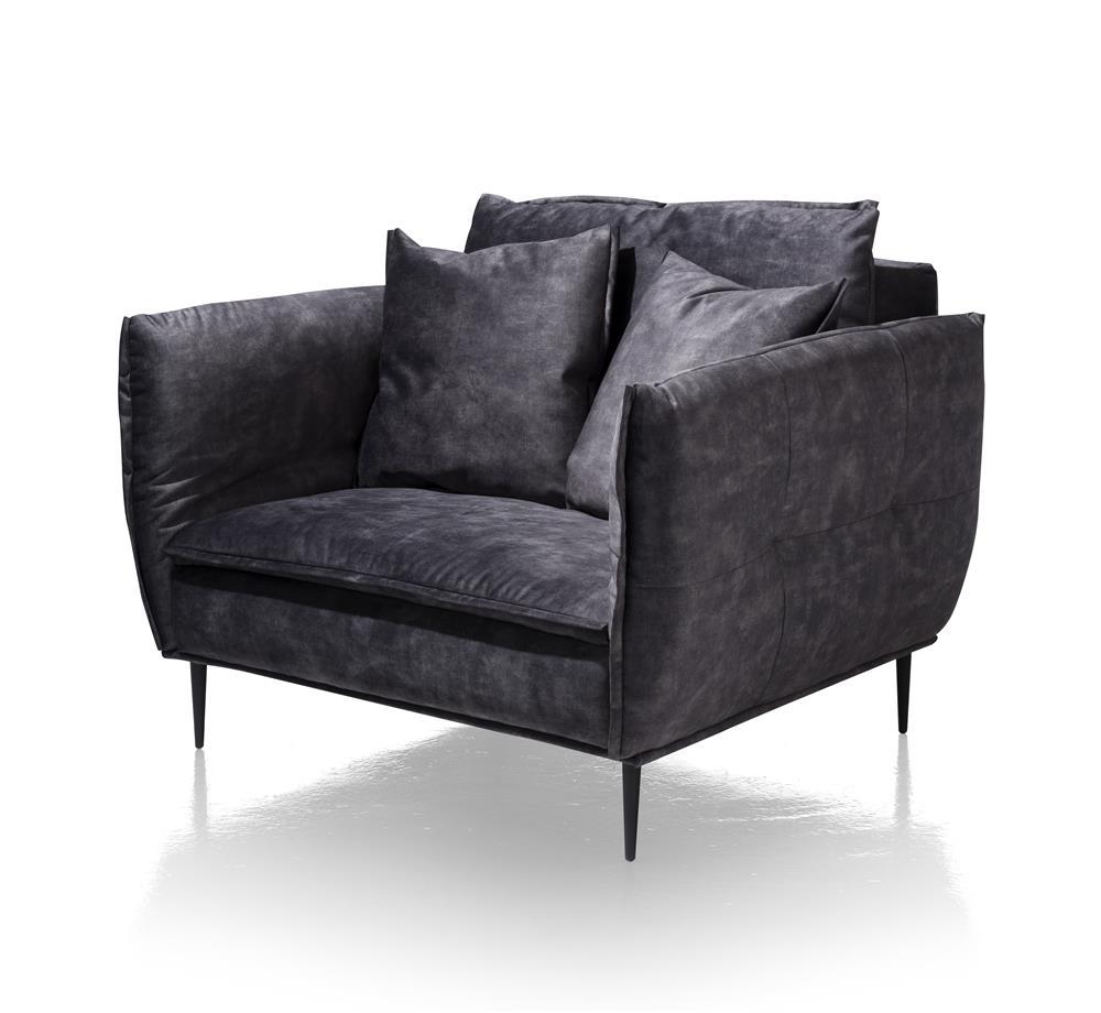 Canapé 1,5 places tissu gris foncé