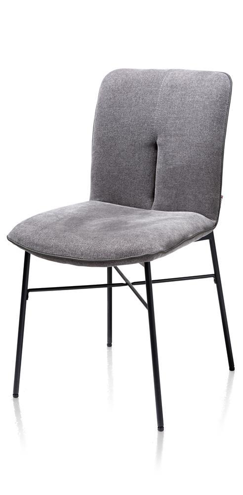 Chaise tissu gris pieds métal noir