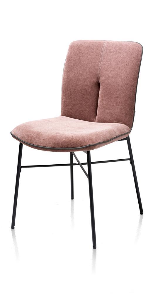 Chaise tissu rose pieds métal noir
