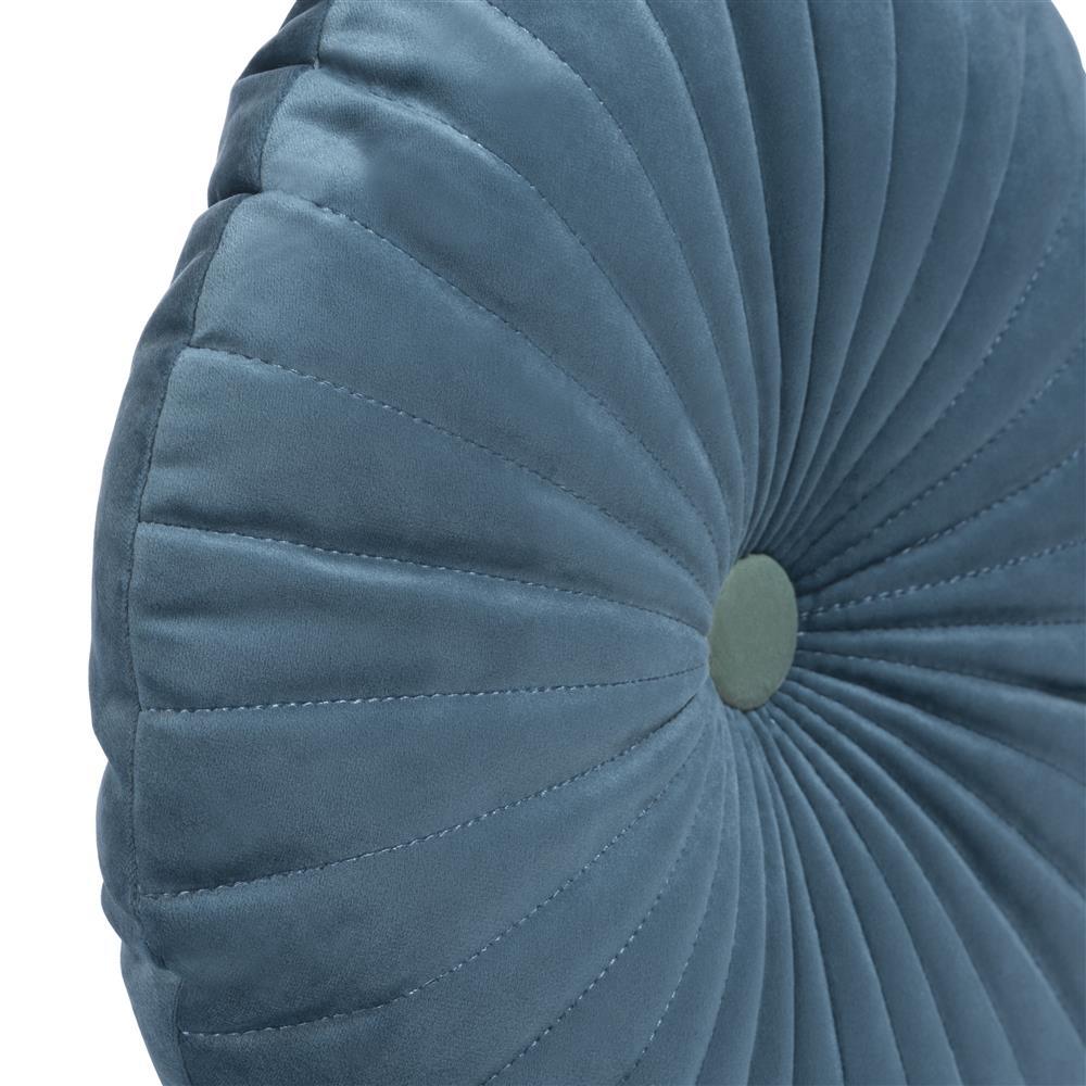 Coussin rond capitonné de couleur bleu