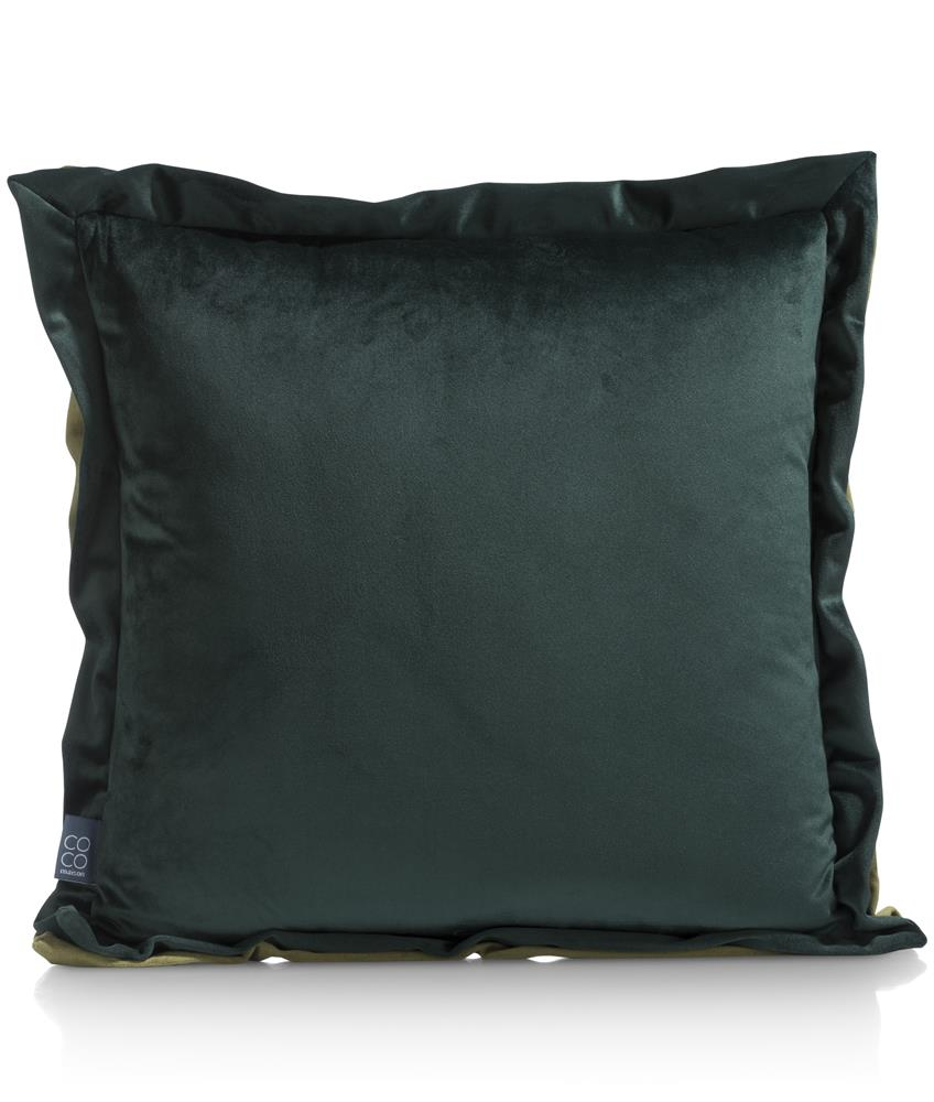 Coussin tissu bicolore vert clair et vert foncé