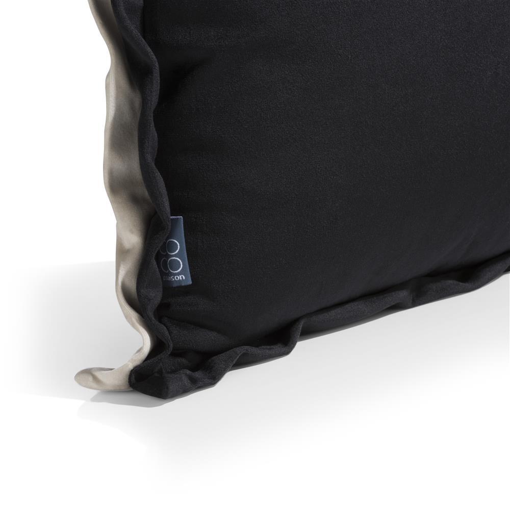 Coussin tissu bicolore noir et beige