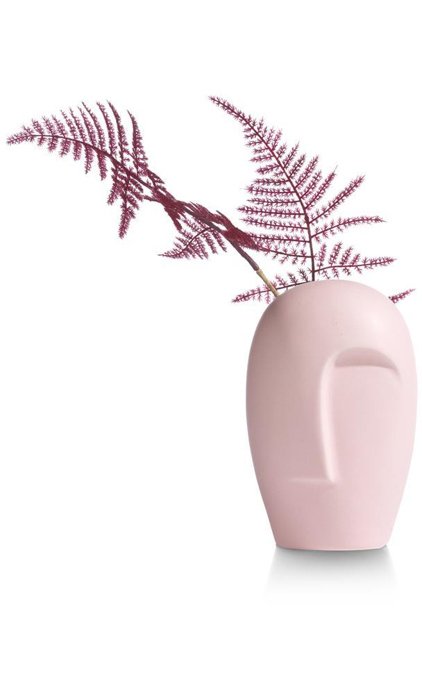 Vase tendance visage abstrait couleur rose
