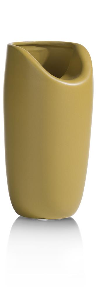 Vase contemporain en céramique jaune moutarde