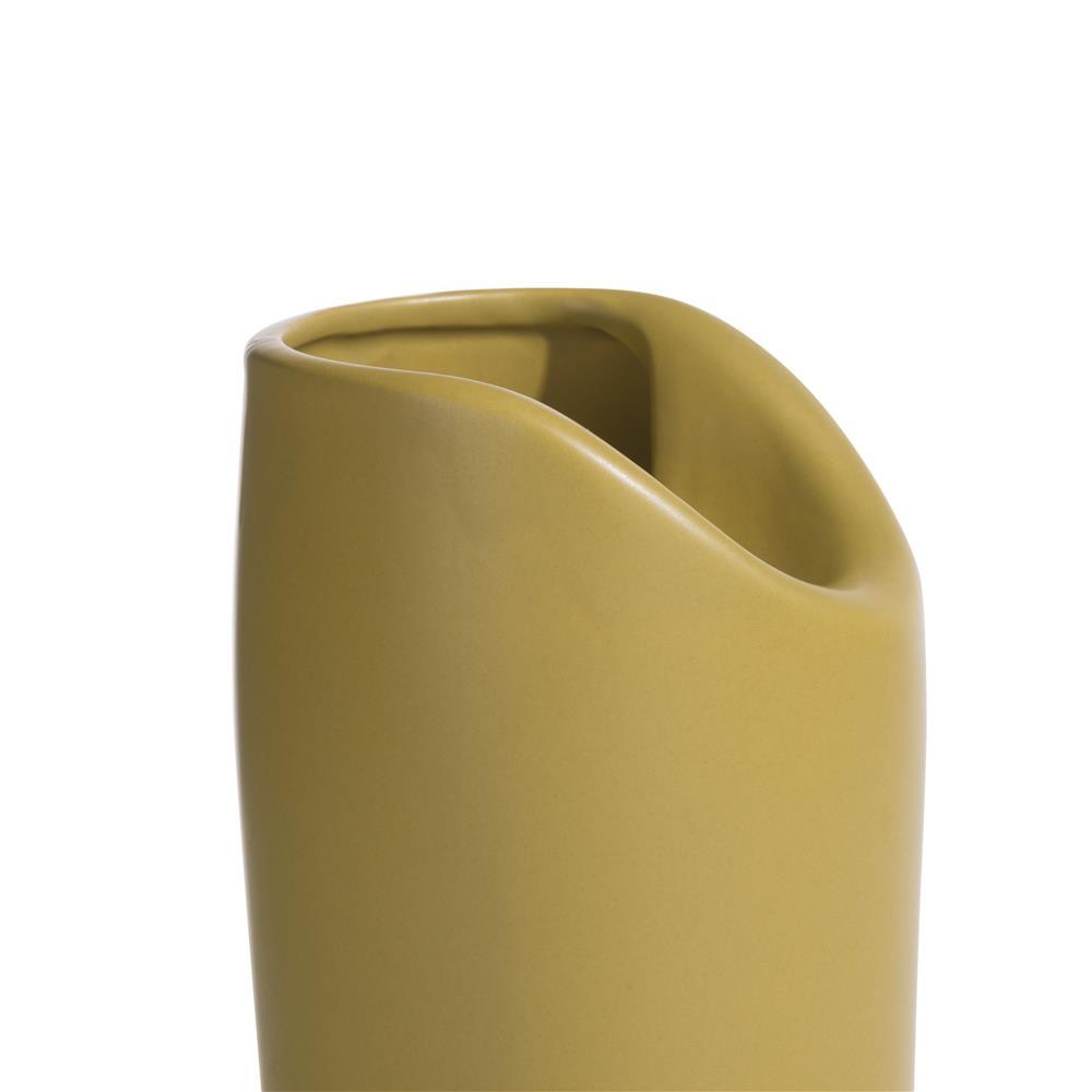 Vase contemporain en céramique jaune moutarde