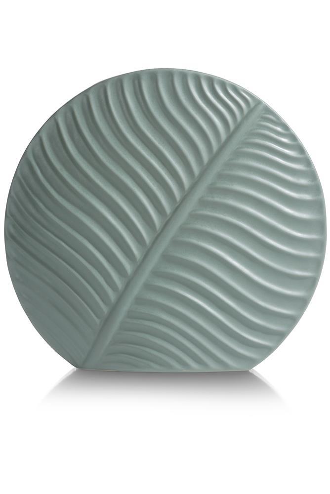 Grand vase rond et étroit couleur vert pastel motif végétal