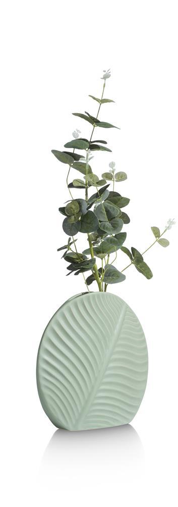 Vase rond et étroit couleur vert pastel motif végétal