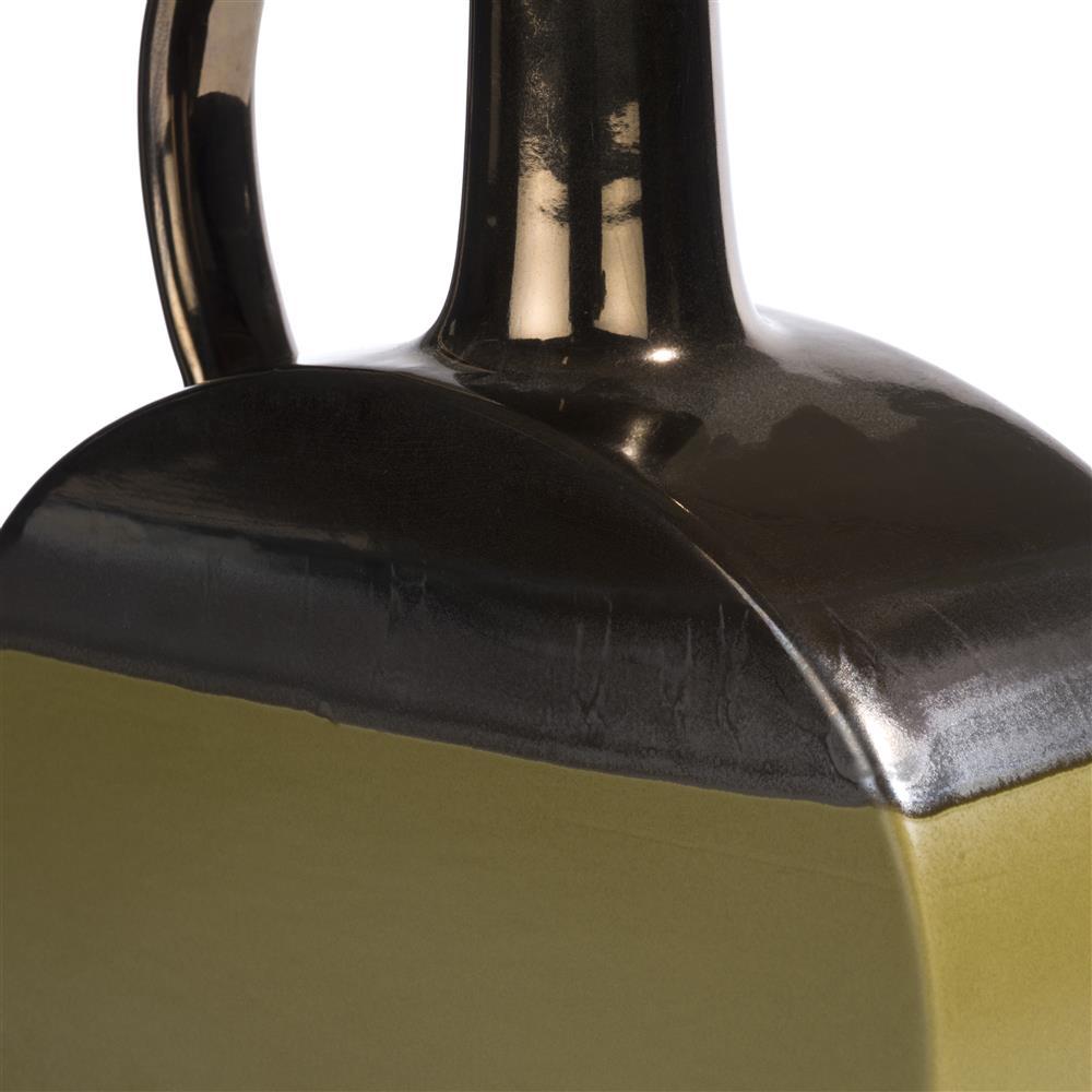 Vase bouteille vert et cuivre