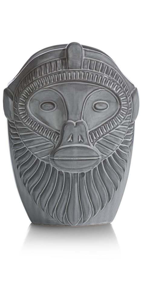 Vase gris tête de singe