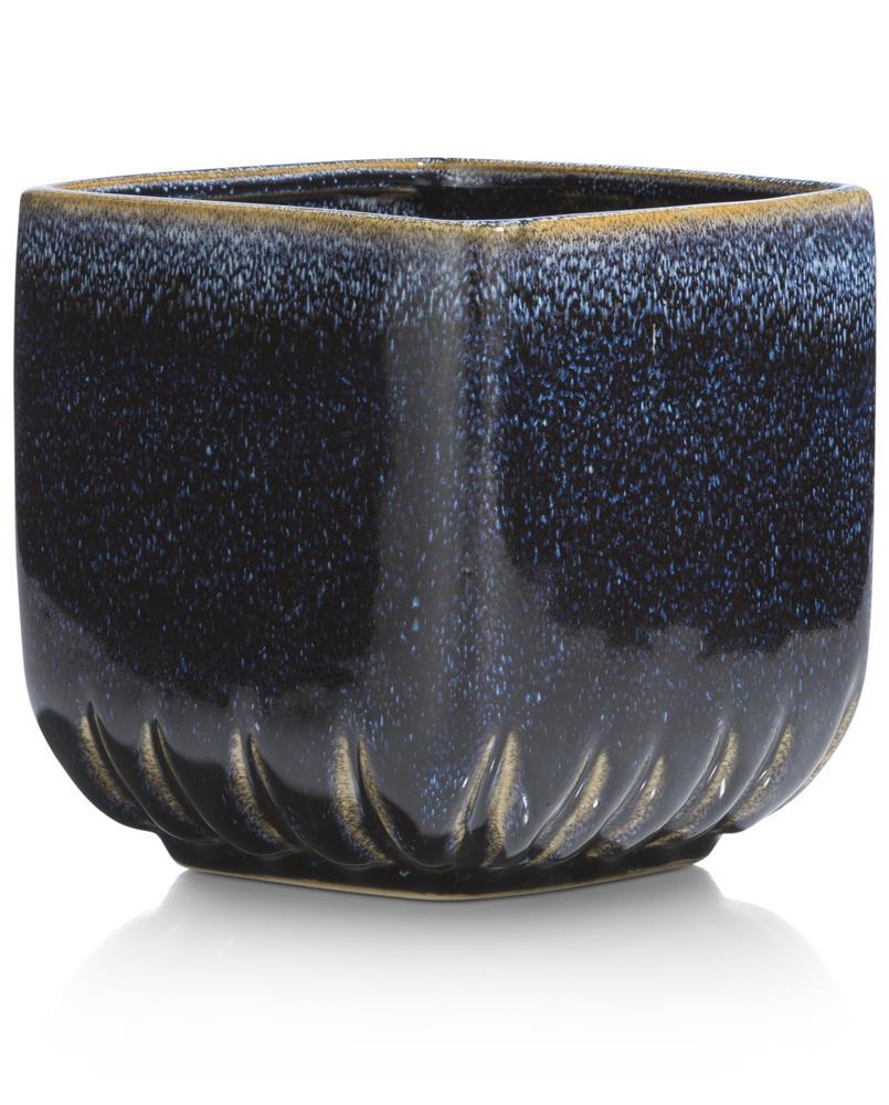 Pot de fleurs carré en céramique bleu