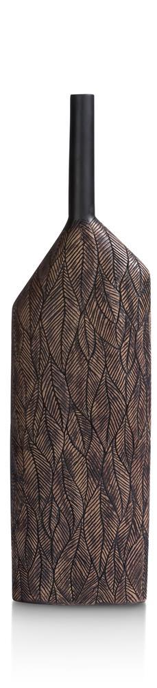 Vase haut couleur bois orné de motifs végétaux