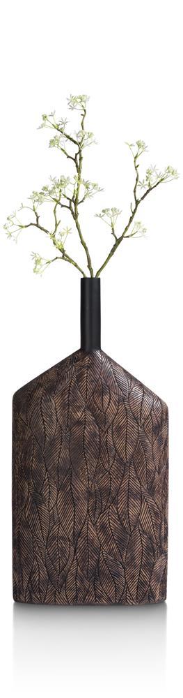 Vase large et fin couleur brun orné de motifs végétaux