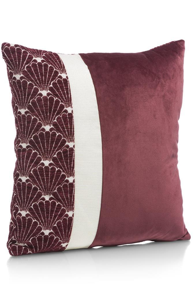 coussin carré rouge foncé motifs coquillages