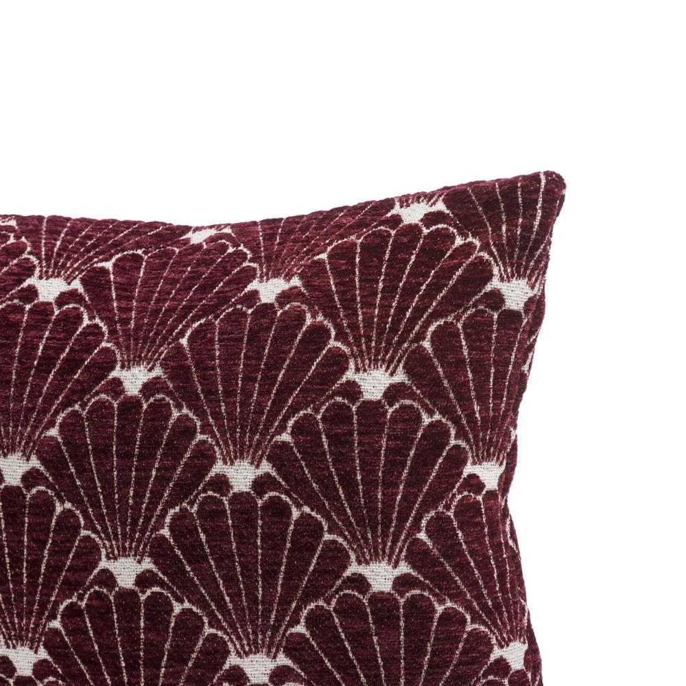 Coussin rectangulaire rouge foncé motifs coquillages