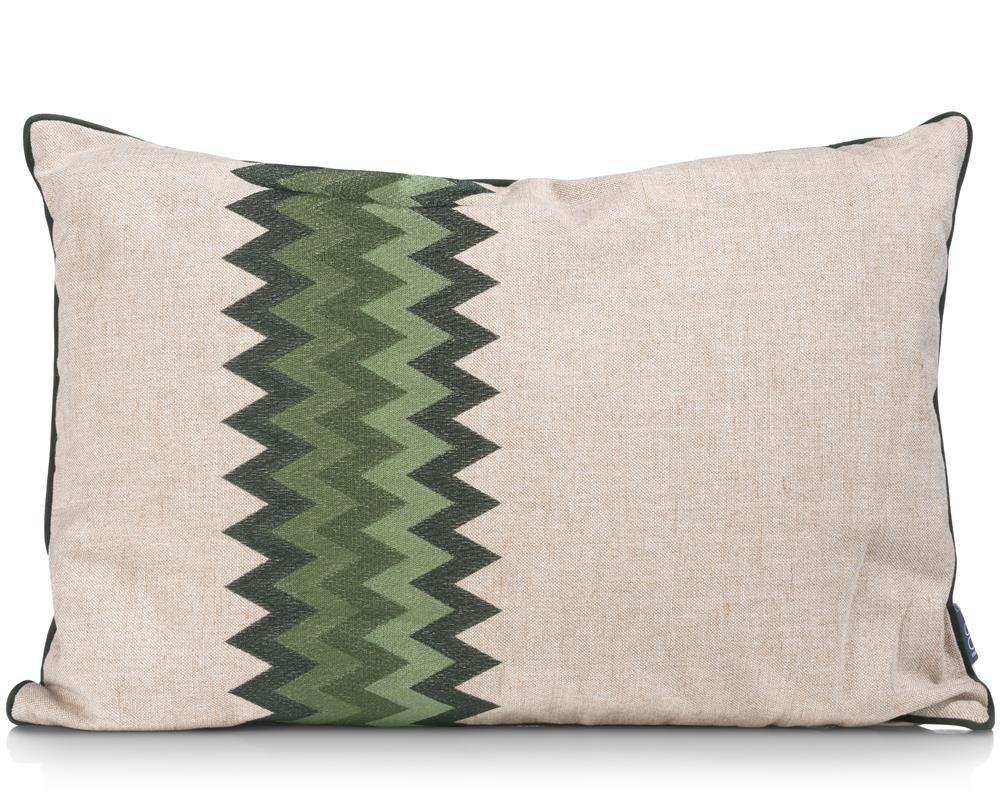 Coussin rectangulaire tissu beige motifs ethniques verts