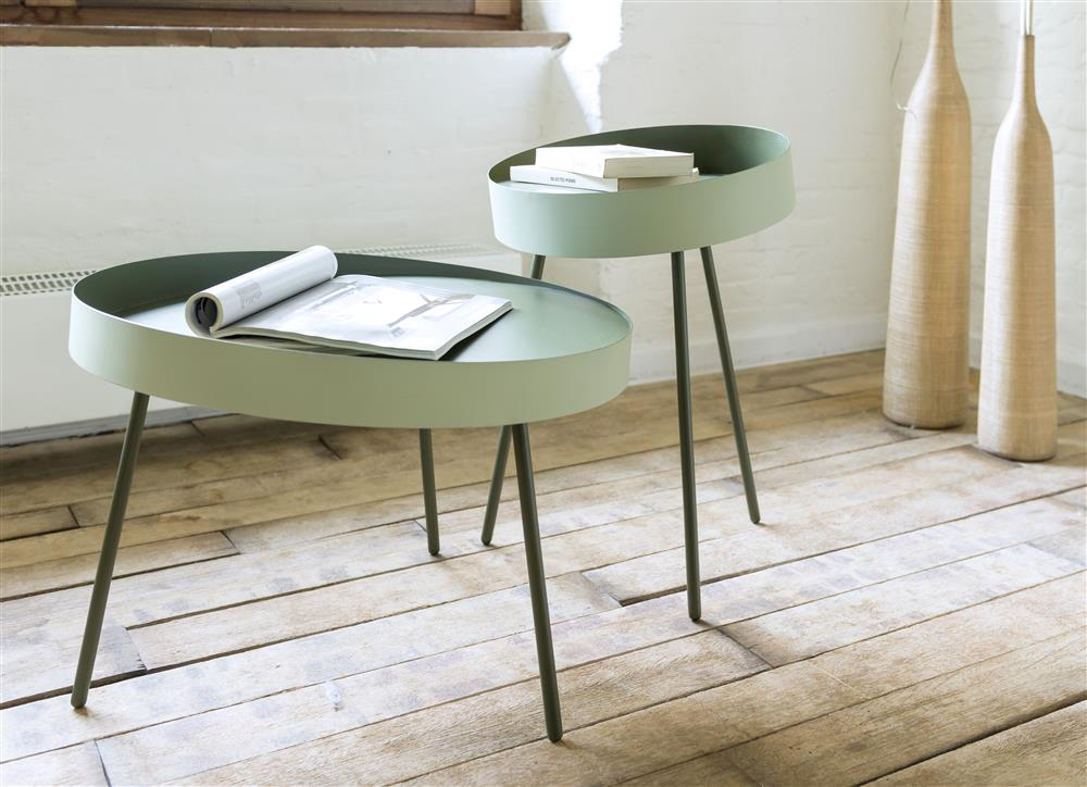 Table d'appoint gigogne contemporaine vert pâle