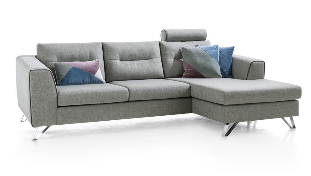 Canapé 3 places moderne tissu gris clair