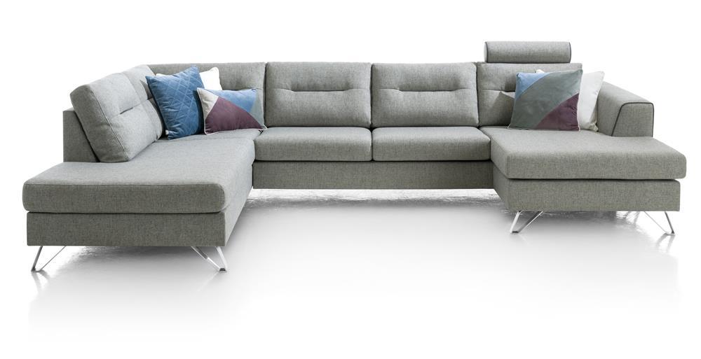 Canapé d'angle moderne tissu gris clair