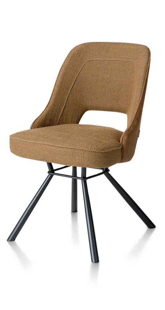 Chaise contemporaine tissu cognac