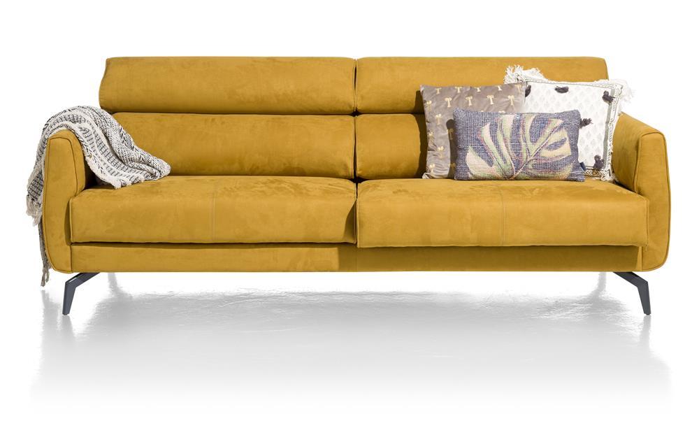 Canapé 2,5 places en tissu jaune moutarde
