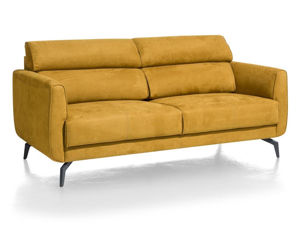Canapé 2 places en tissu jaune moutarde