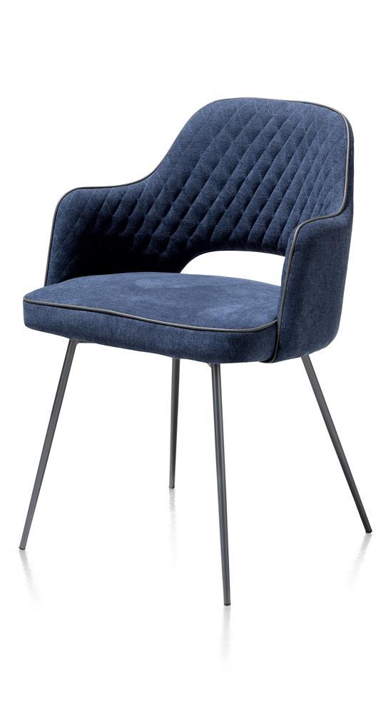 Chaise fauteuil en tissu bleu foncé