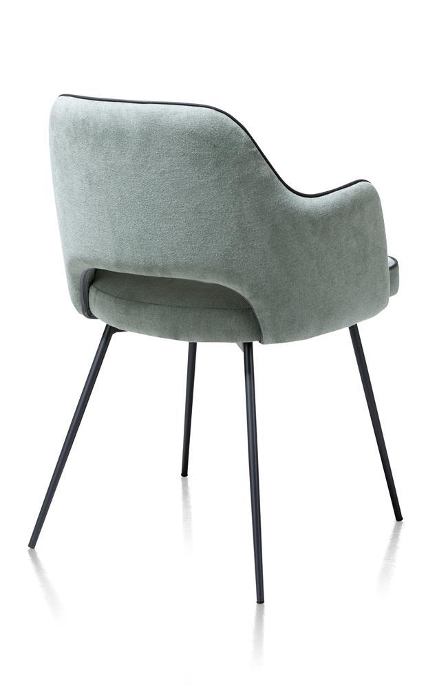 Chaise fauteuil en tissu bleu menthe