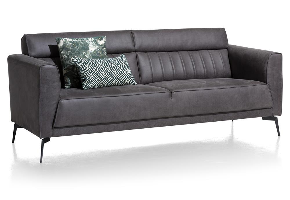 Canapé cuir foncé 2,5 places style contemporain et minimaliste