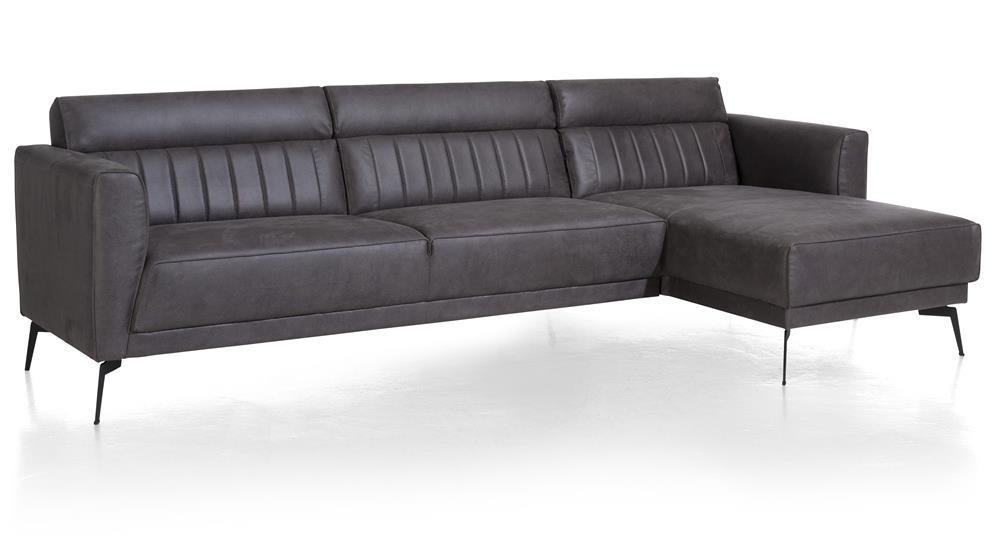 Canapé d'angle cuir foncé style contemporain et minimaliste