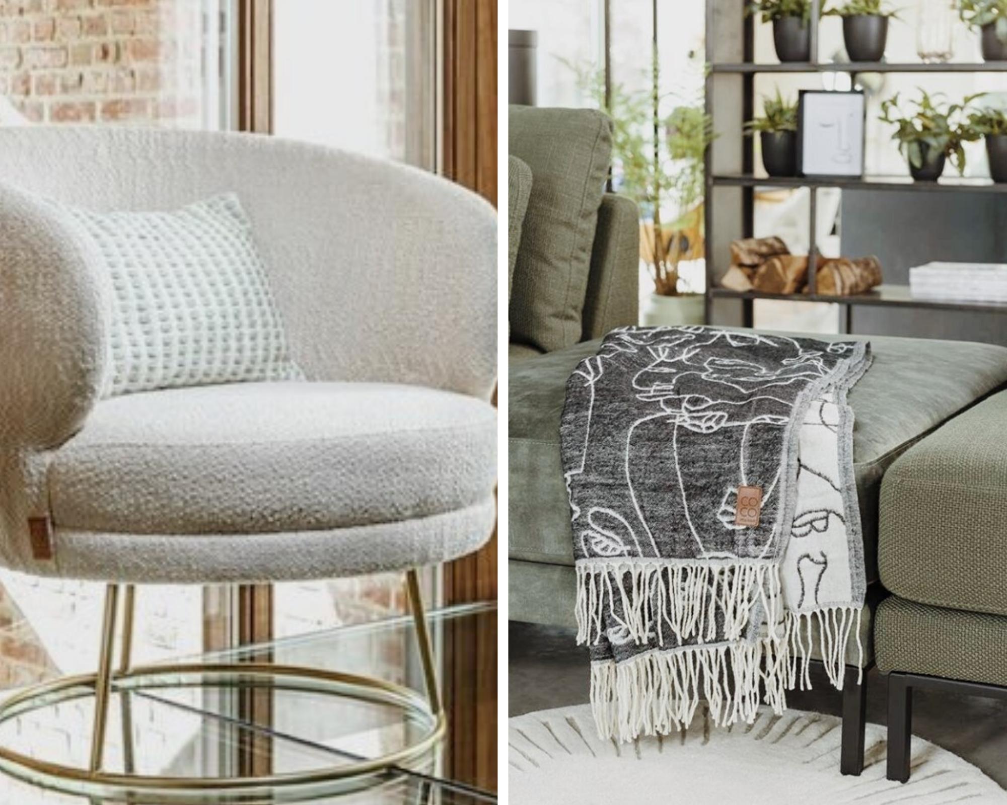 Double photo fauteuil design et plaid contemporain